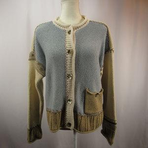 J Jill VTG Chunky Knit Cardigan Sweater Silk Blend